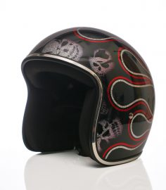 North Virus Superflake Black Red Flames & Silver skulls