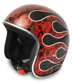 North Virus Superflake Red flames with scull